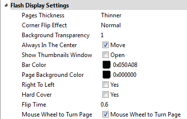 digital flipbook display settings